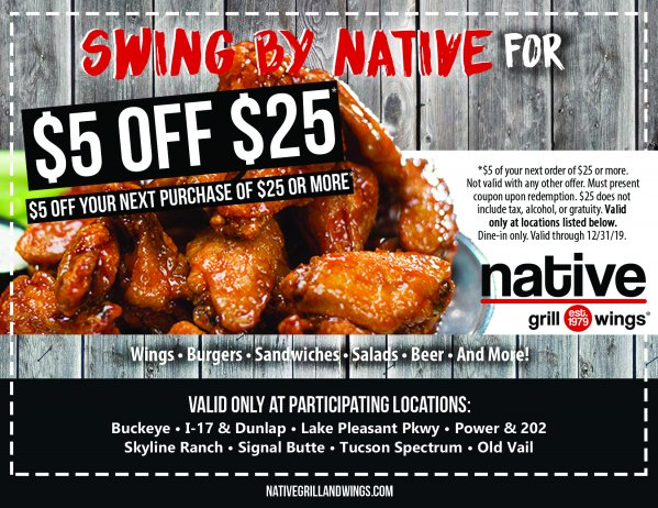 Shop with Native Grill & Wings Promo Code, Save with CouponAsion
